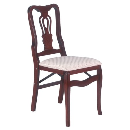 Chippendale hardwood folding chair in light cherry with Blush upholstery