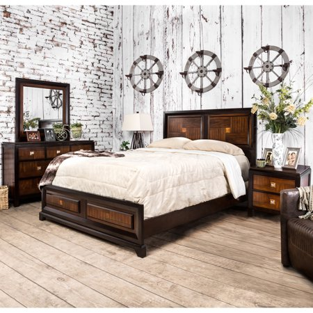 Furniture of america duo tone 4 piece acacia and walnut for American black walnut bedroom furniture