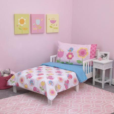 - Everything Kids Garden Party 4-Piece Toddler Bedding Set