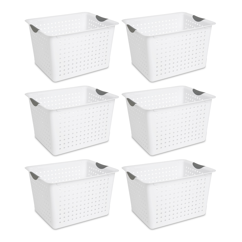 Sterilite Deep Ultra Plastic Kitchen Laundry Storage Organizer Baskets (6 Pack) by Sterilite
