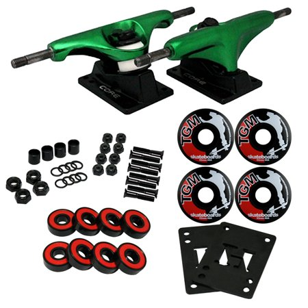 Skateboard Truck Parts - CORE Green SKATEBOARD TRUCKS, WHEELS, ABEC 5 BEARINGS