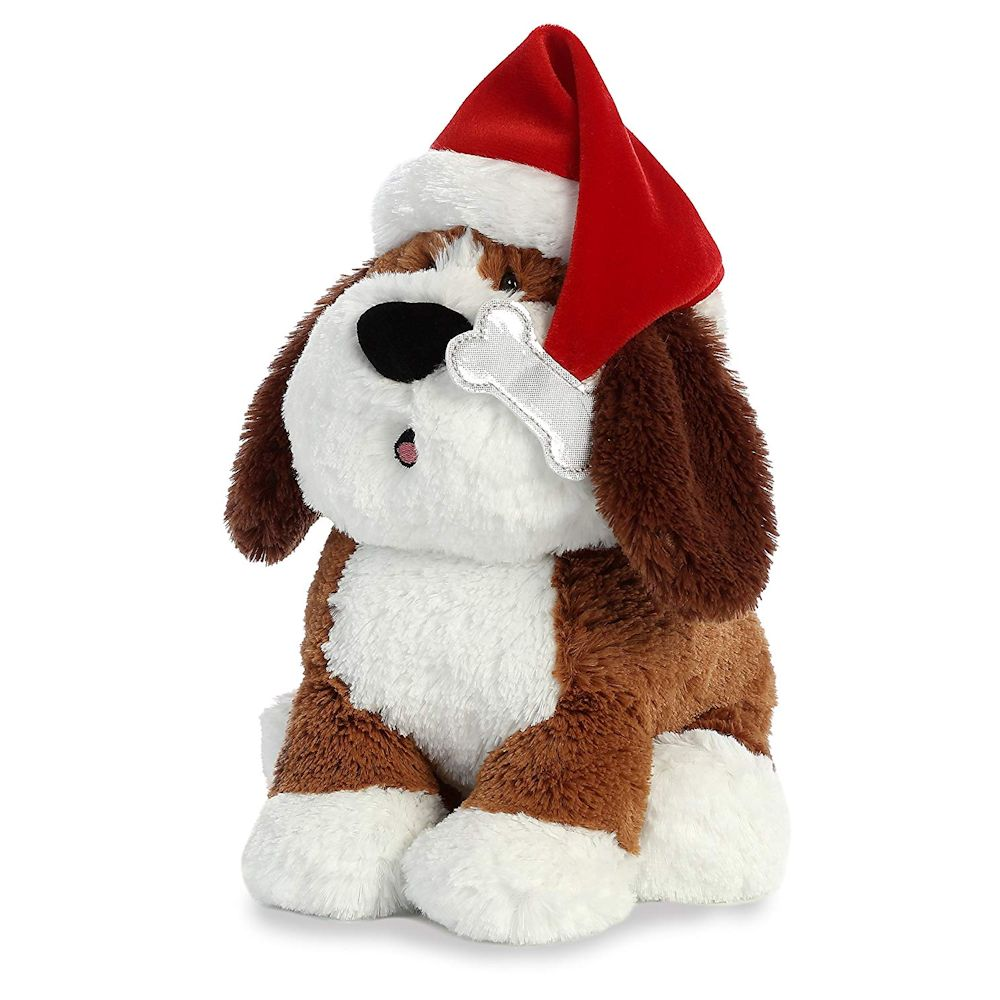 Aurora World 99026 Hound with Sound 12 inch Plush Dog with Santa Hat