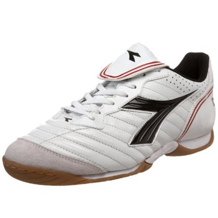 Diadora Men's Scuddetto LT Indoor Soccer Shoe,White/Black Dark /Red,8 M US Diadora Indoor Soccer