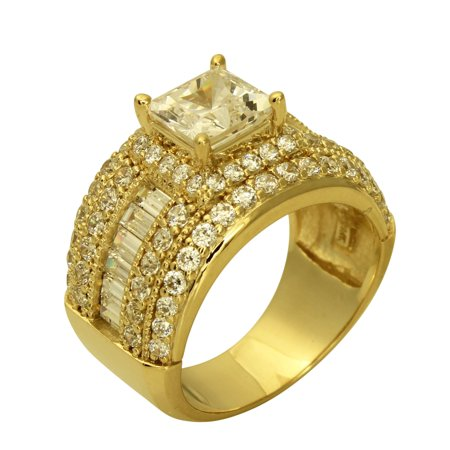 Channel Set Band Engagement Ring (5.00 Ct 14K Real Yellow Gold Big Fancy Square Princess Cut Center with Baguette & Round Channel Pave Set Side Stones Engagement Wedding Bridal Propose Promise Ring Band)