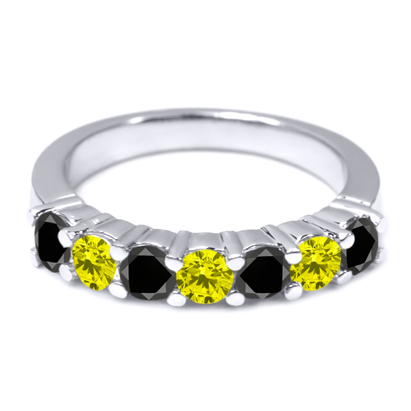 1.13 Ct Round Black and Canary Diamond 18K White Gold Wedding Band Ring