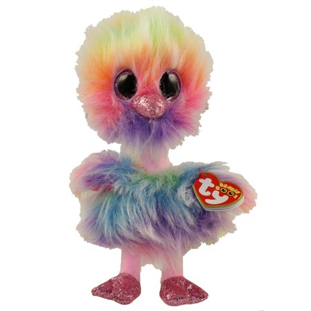 TY Beanie Boos - ASHA the Rainbow Ostrich (Glitter Eyes)(Regular Size - 6 inch)