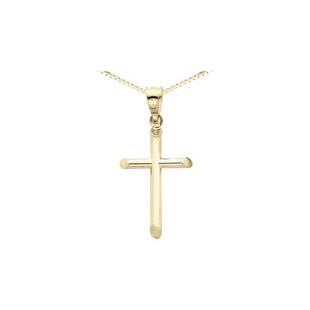 14K Yellow Gold Cross Pendant Necklace with Chain (1 /14 inch)