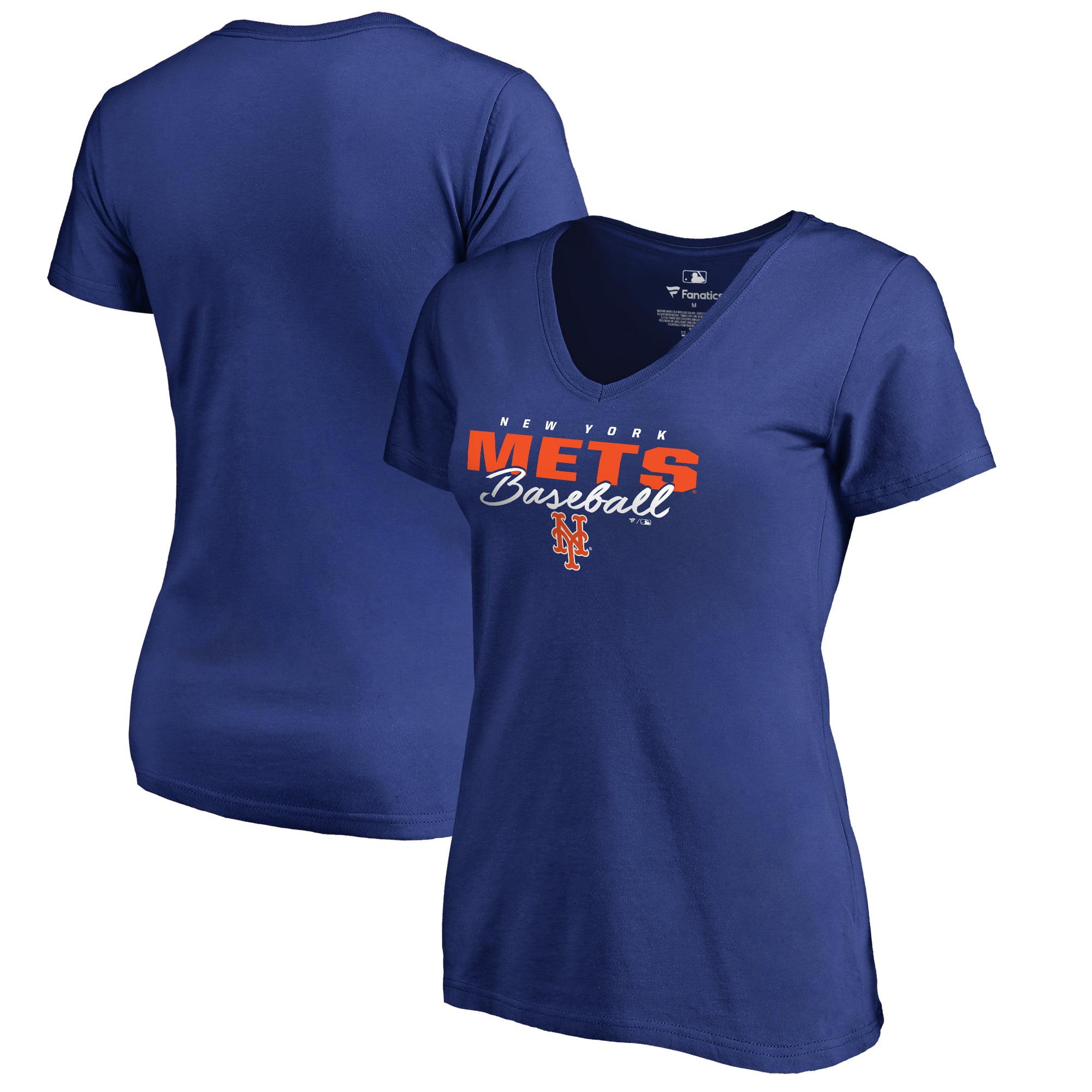 New York Mets Fanatics Branded Women's Script Assist V-Neck T-Shirt - Royal