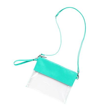 Viv and Lou Clear Mint Polyester and Acrylic Cross Body Stadium Handbag Purse Acrylic Purse Base