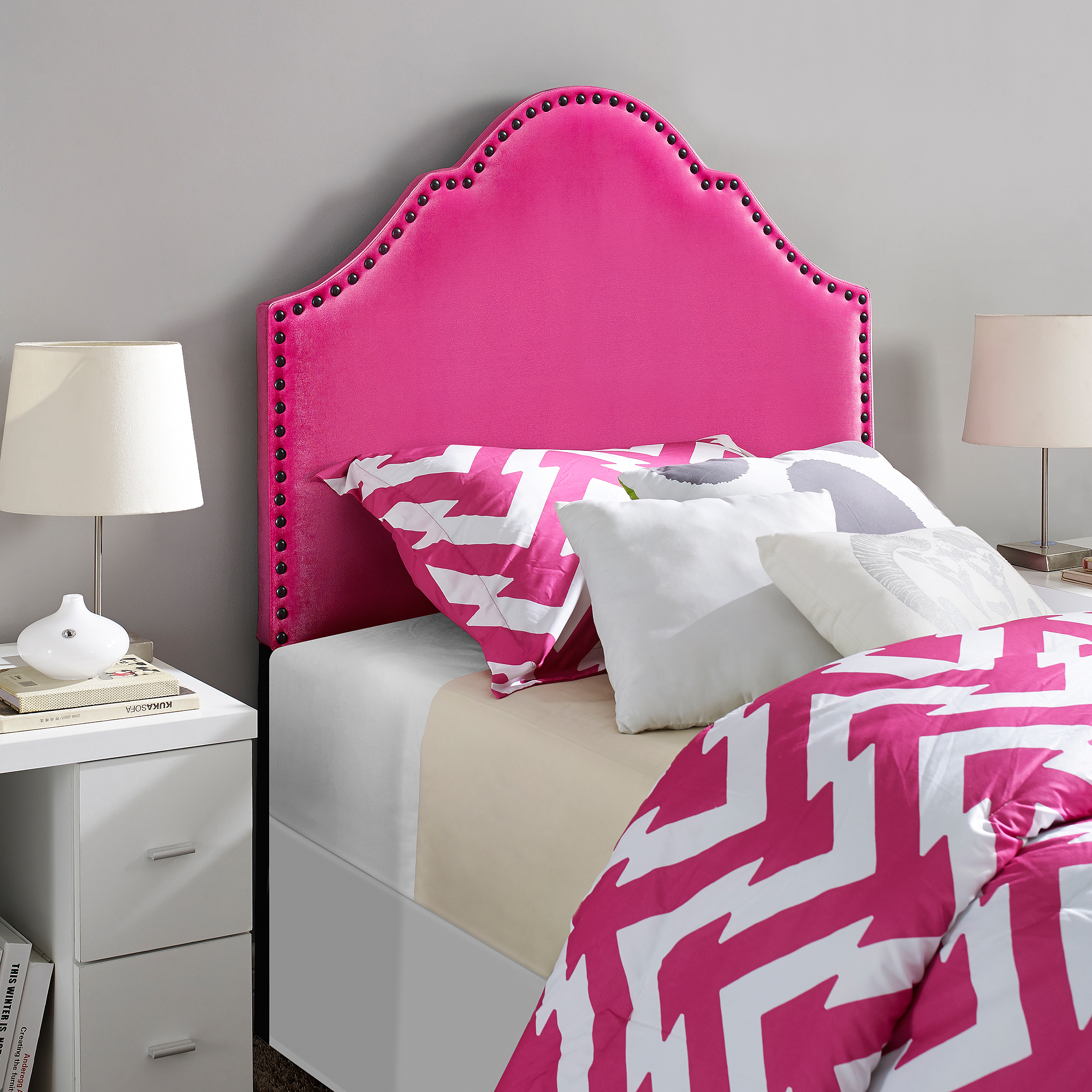 novogratz twin headboard with nailheads  walmart, Headboard designs