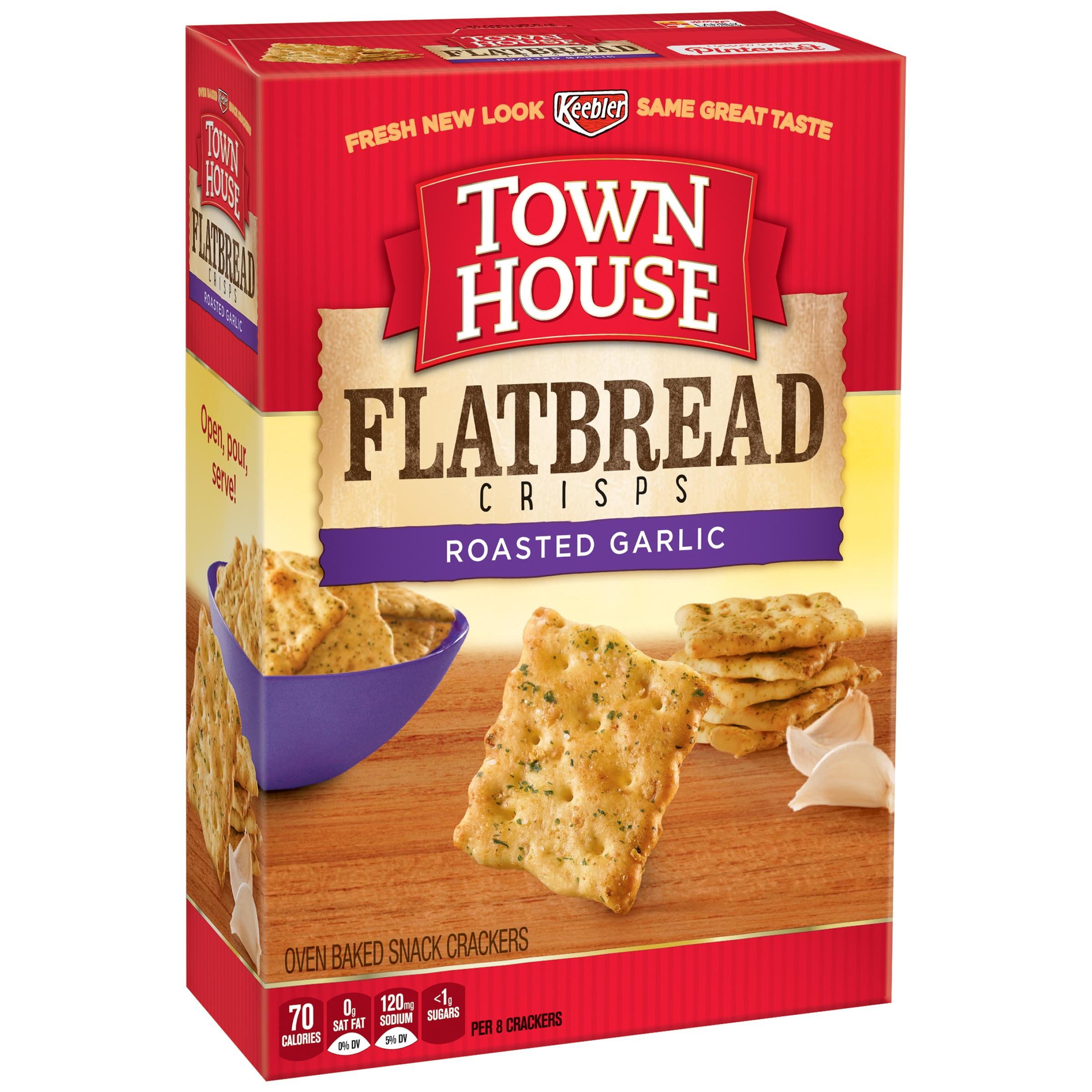 Keebler® Town House® Flatbread Crisps Roasted Garlic Crackers 9.5 oz. Box