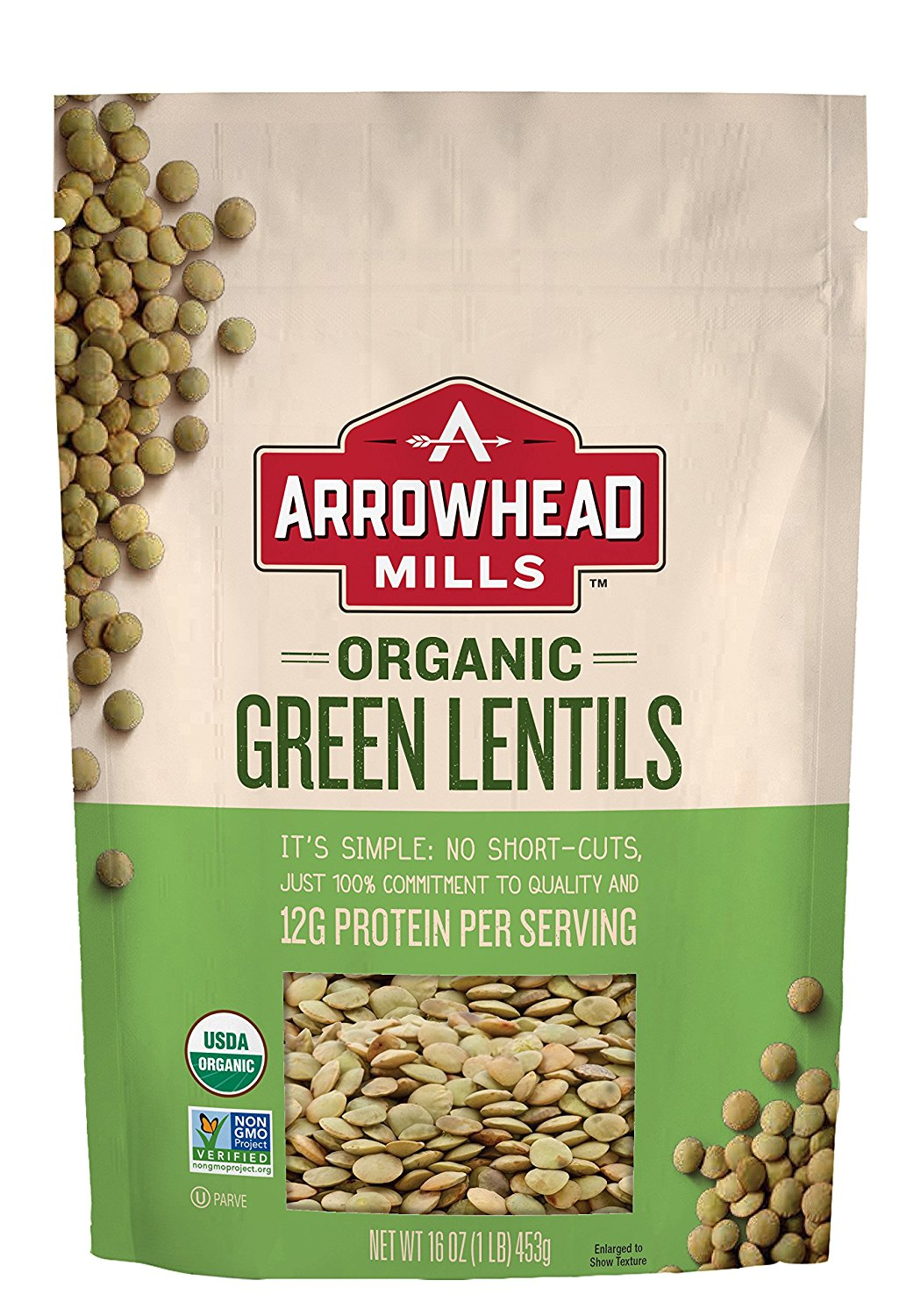Arrowhead Mills Organic Green Lentils Case of 6 16 oz. by