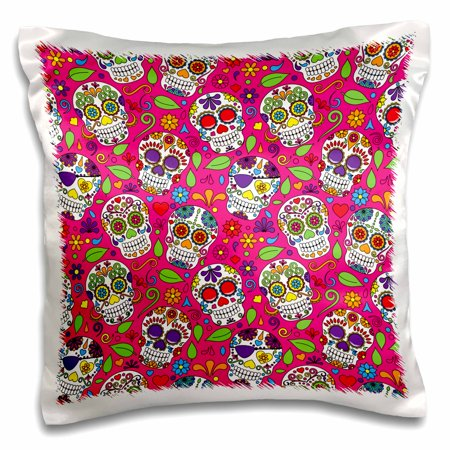 3dRose Colorful Tossed Sugar Skulls On A Pink Background Pattern - Pillow Case, 16 by 16-inch (Colorful Sugar Skull)