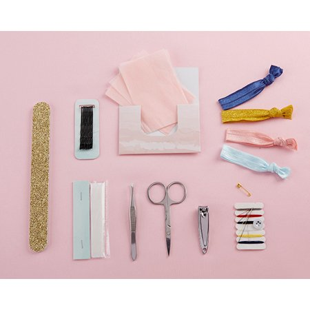 Kate Aspen Wedding Survival Kits Wedding Day Emergency Kit for Bride, The Perfect Bride Gift, Bridesmaid Presents, Bachelorette Party Favors Wedding Favors (Floral, 6 Sets) Our Floral Wedding Survival Kit includes everything you need to fix clothing, hair, nail, or cosmetic emergencies, so you have nothing to worry about on your big day!  The kit is kept in a chic clear vinyl cosmetics bag, and makes the perfect gift for brides and bridesmaids alike, and the bag can be reused as a convenient cosmetics bag after the contents have been used. Keep your day stress free and your look perfect with one simple gift! Features and facts: Color(s):White, pink, purple, green, blue, and black Materials:Metal, cardstock, vinyl, and textile Details: A practical and adorable floral patterned wedding survival kit with items brides and bridesmaids need to ensure the wedding day goes smoothly. Survival kit includes: manicure set with nail clippers, tweezers, and scissors, nail file, 4 hair ties, 8 bobby pins, paper clothing tape, 12 oil absorbing wipes, and sewing kit displayed in a clear vinyl cosmetic bag.  Dimensions:10.2  w x 6.7  h x 2.1  d You will get 6 sets of this survival kit per order!