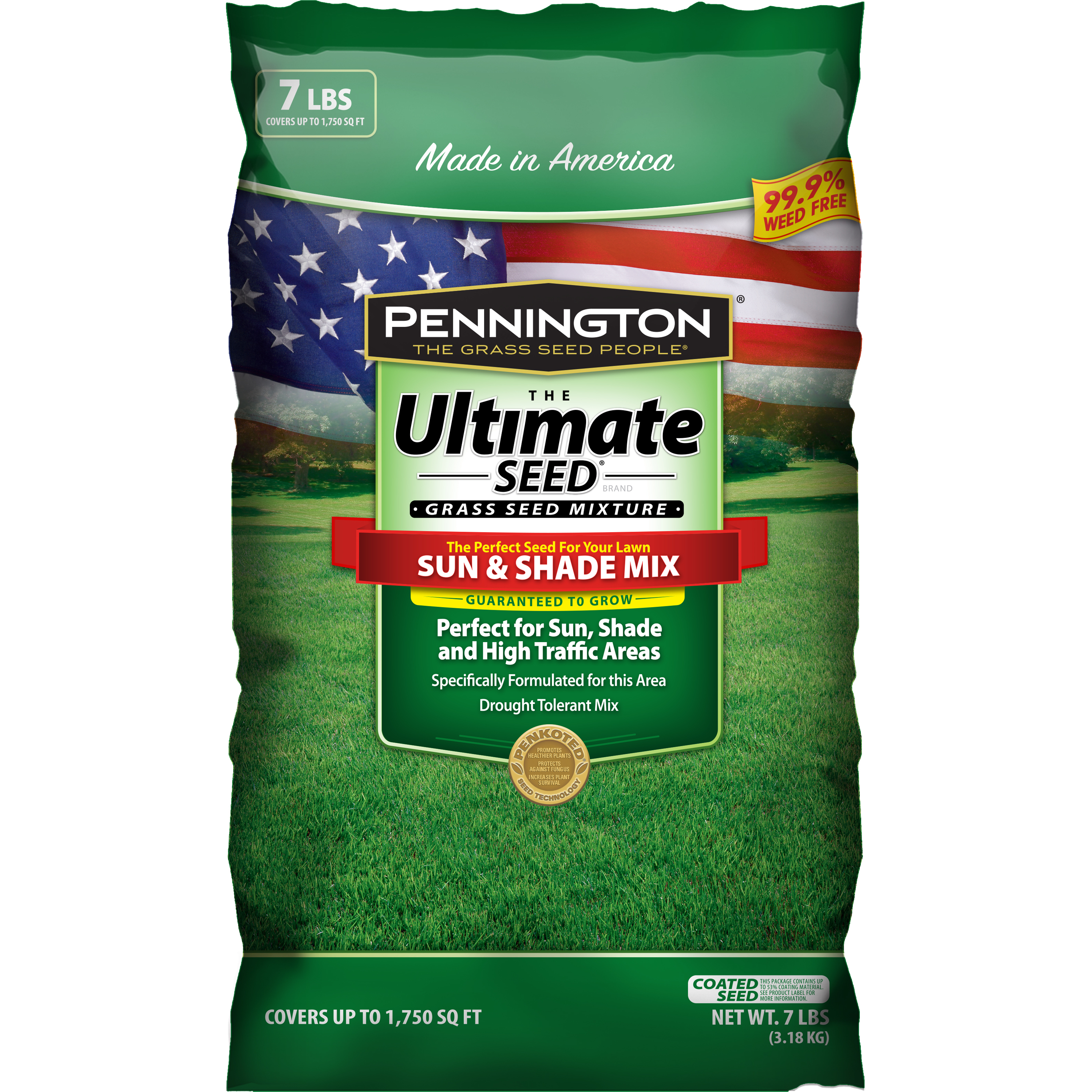 Image of Pennington Ultimate Sun and Shade Grass Central Seed Mixture, 7 lb bag