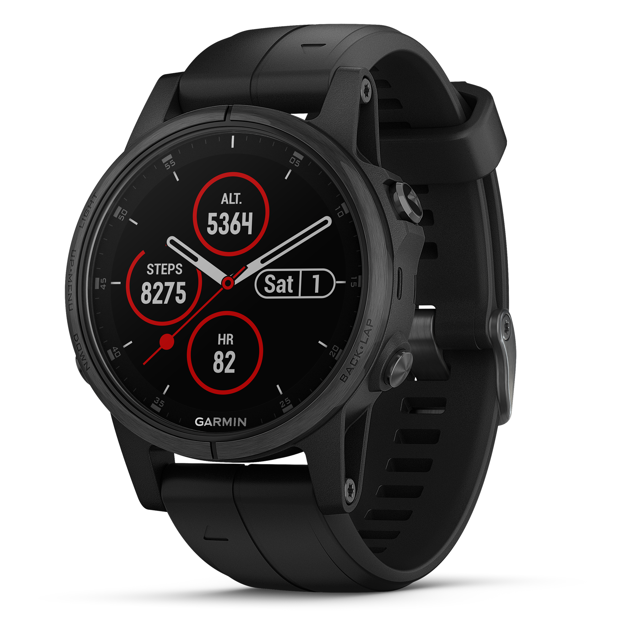 Garmin Fenix 5S Plus Sapphire, Black with black band by Garmin