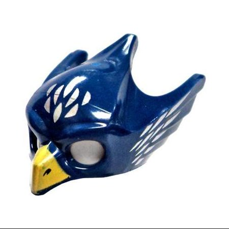 LEGO Dark Blue Eagle Mask with Yellow Beak and Silver Pattern Loose Accessory