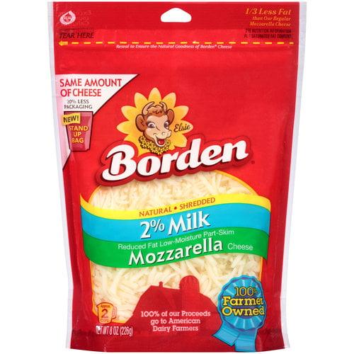 Borden 2% Milk Natural Shredded Mozzarella Cheese, 8 oz