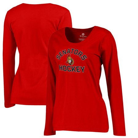 Ottawa Senators Fanatics Branded Women's Overtime Plus-Size Long Sleeve V-Neck T-Shirt - Red