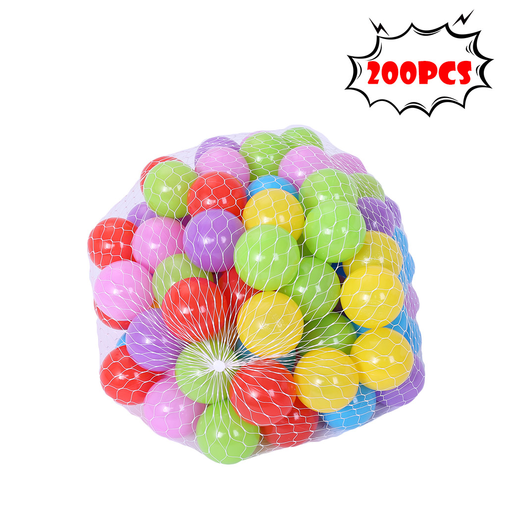 200pcs Plastic Ball Pit Balls Crush Proof Ocean Ball Toy Games with Bag for Kids