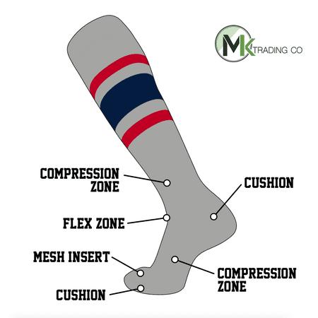 TCK Elite Baseball Football Knee High Striped Socks (E) Grey, Red, Navy Blue (M)