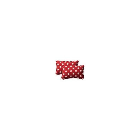 Pillow Perfect Outdoor/ Indoor Polka Dot Red Oversized Rectangle Throw Pillow (Set of 2)