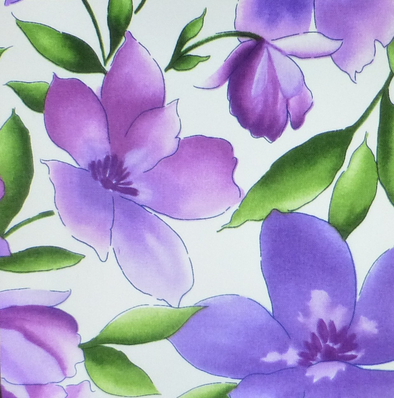 Catalina Ultra Violet~Large Floral onWhite~Cotton Fabric~Maywood Studio