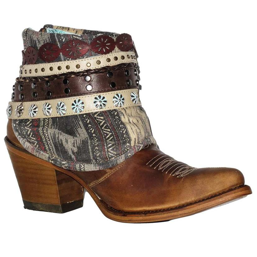 Corral Womens Boots Honey Studded Woven Shorty Boots Womens d79ef3