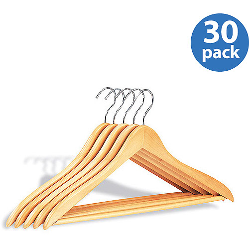Wood Hangers w/ Bar, 30 Pack