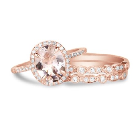 2 Carat oval cut Morganite and Diamond Trio Wedding Ring Set in Rose Gold with 2 art deco bands