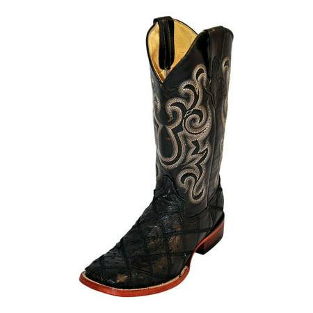 Mens Antique Saddle (Ferrini Western Boots Mens Ostrich Patch Black Antique Saddle 11693-04 )
