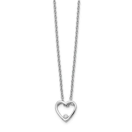 Mia Diamonds Solid Sterling Silver White Ice Diamond Heart Necklace (Ice Diamond Necklace)