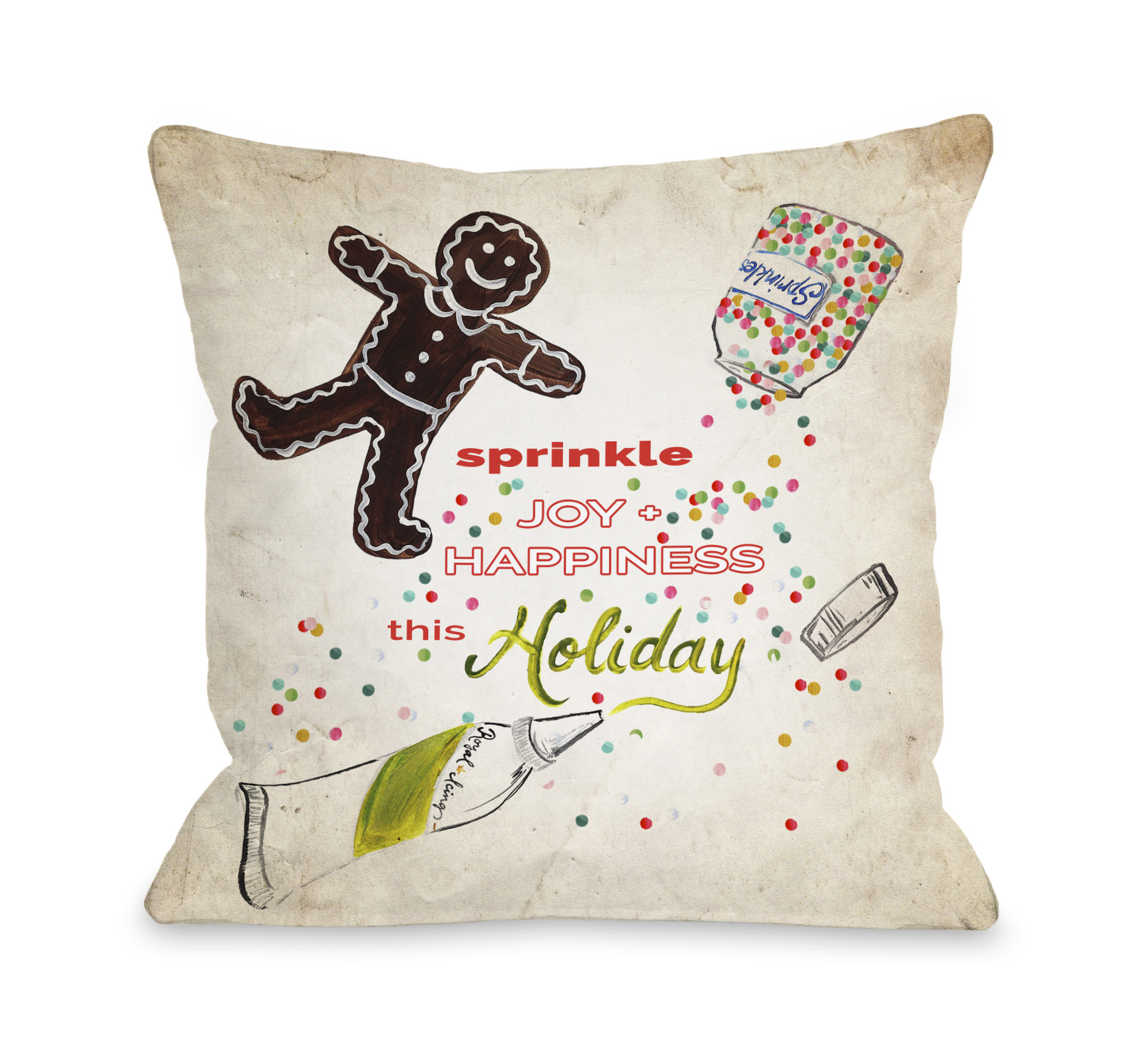 Sprinkle Joy and Happiness - Tan Multi 16x16 Pillow by Timree