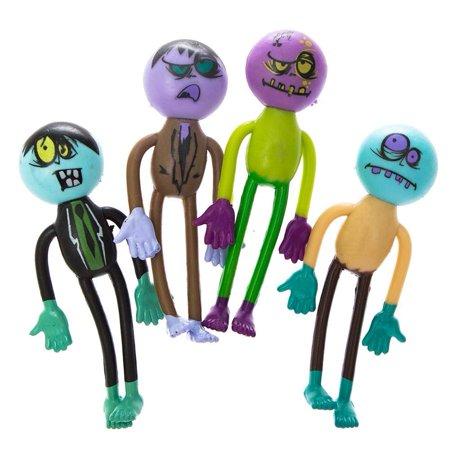 Lot Of 12 Assorted Bendable Zombie Theme Action Figures, One pack of 12 By Rhode Island - Zombie Themes