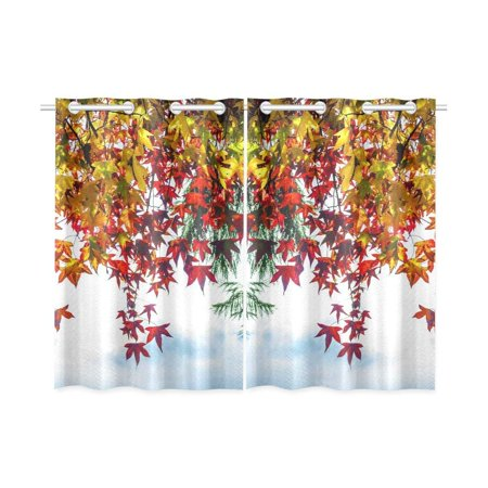 CADecor Yellow Red Leaves Window Kitchen Curtain, Falling Leaves Window Treatment Panel Curtains,26x39 inches,Set of 2 ()