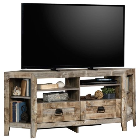 "Sauder Granite Trace Contemporary Wood 60"" Corner TV Stand in Rustic Cedar"