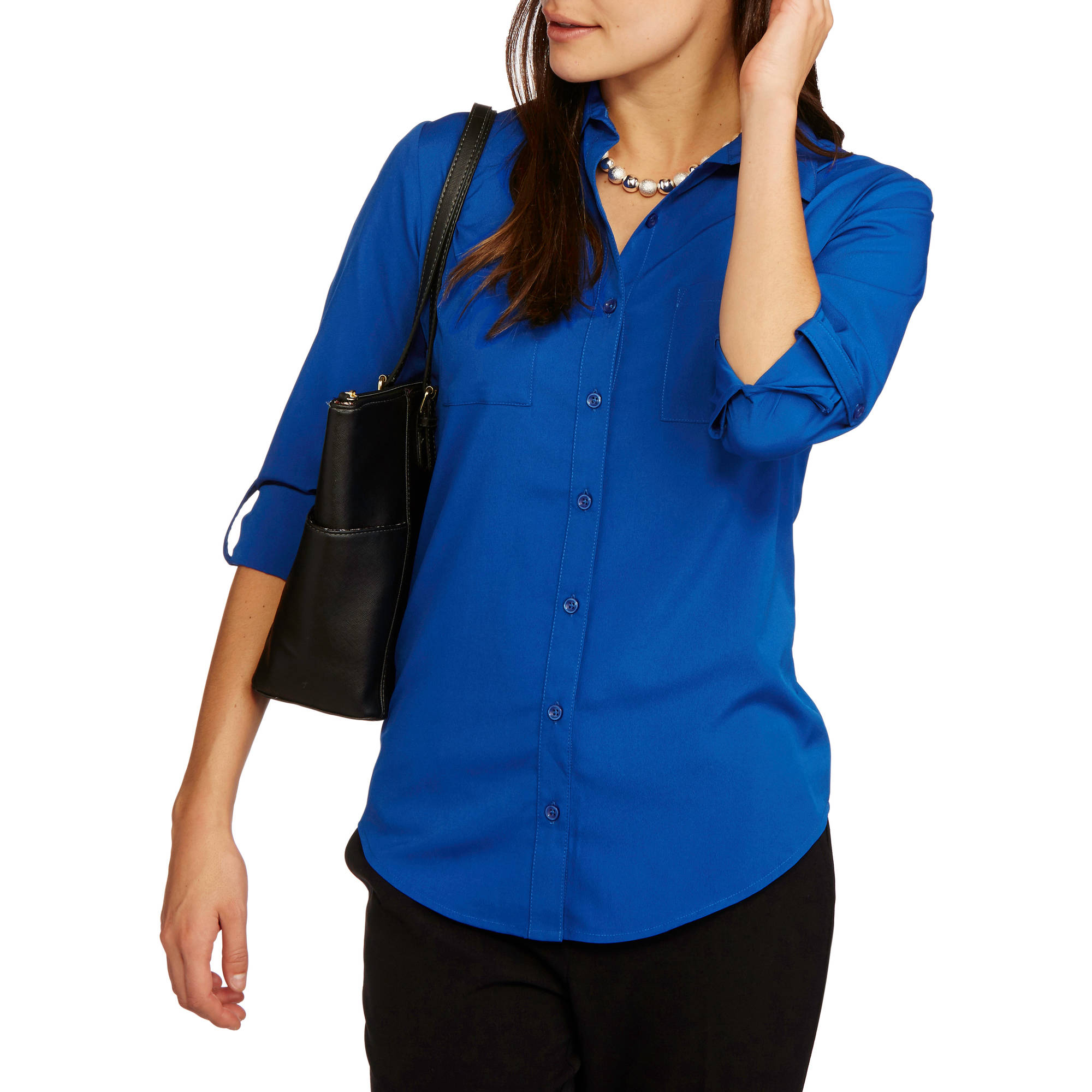 b87f3cfa87d Faded Glory - Women's Soft Woven Button Up Shirt - Walmart.com