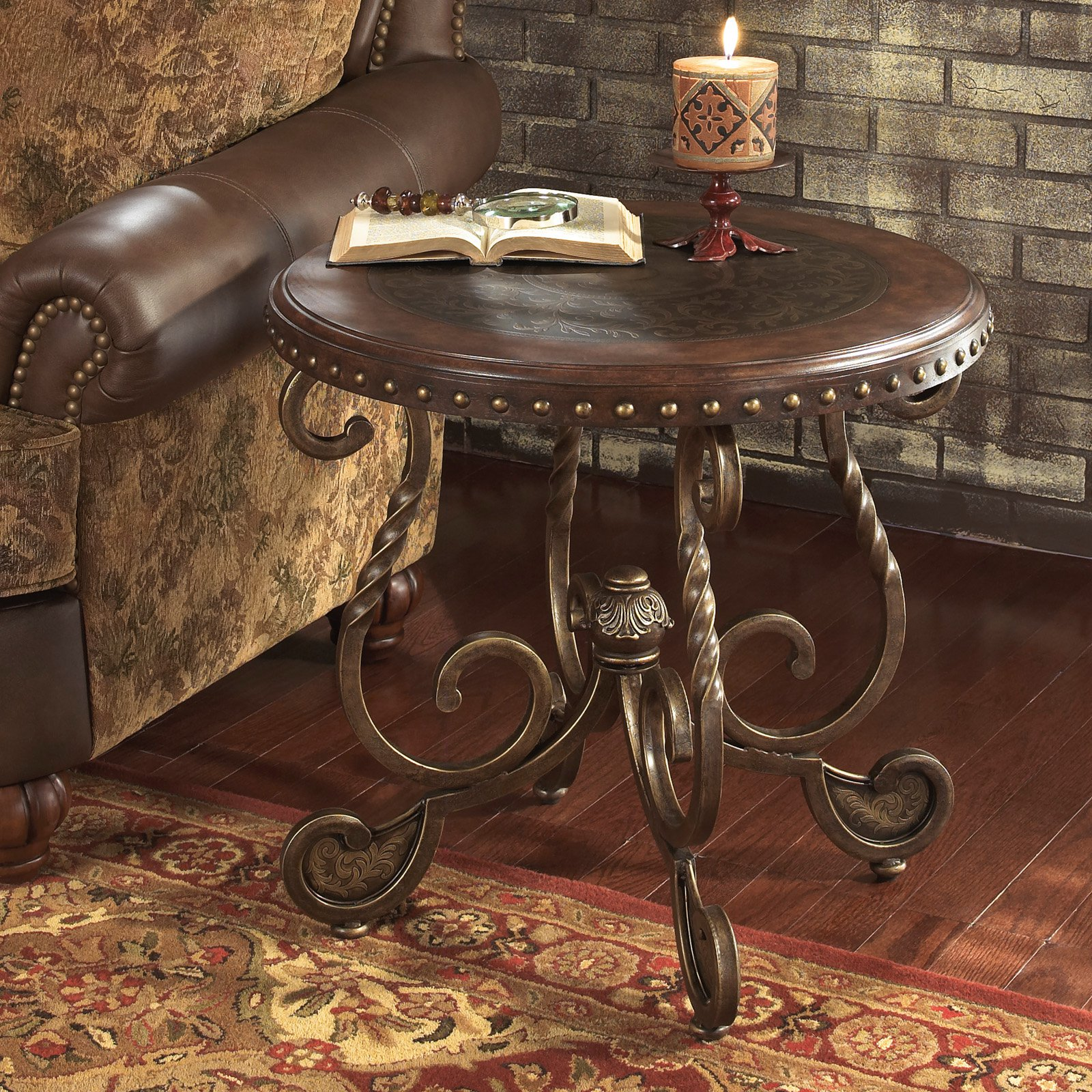 Signature Design By Ashley Rafferty Brown Round End Table
