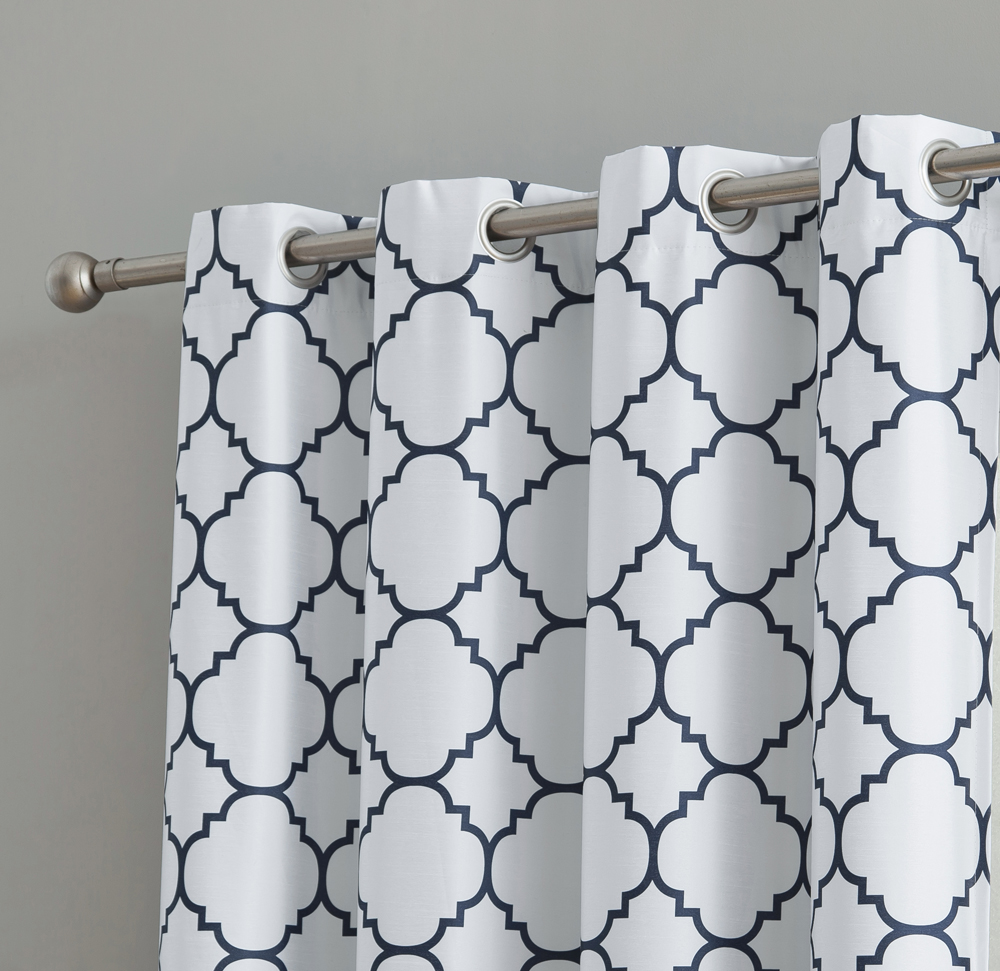 HLC.ME Trellis Print Faux Silk 100% Blackout Thermal Insulated Energy Efficient Room Darkening Window Curtain Grommet Top Panels - Set of 2