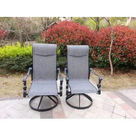 Tremendous Set Of 2 Aluminum Sling Swivel Rocking Outdoor Patio Chairs Cjindustries Chair Design For Home Cjindustriesco