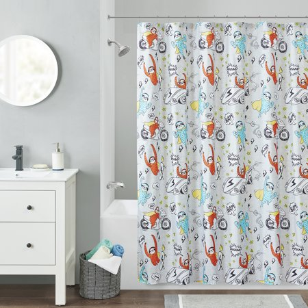 Your Zone Sloth Superhero Printed Shower Curtain, 1 Each