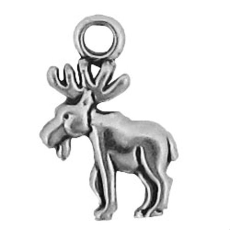 """Sterling Silver 16"""" .8mm Box Chain Mini Left Facing Moose Pendant Necklace With Antlers"""