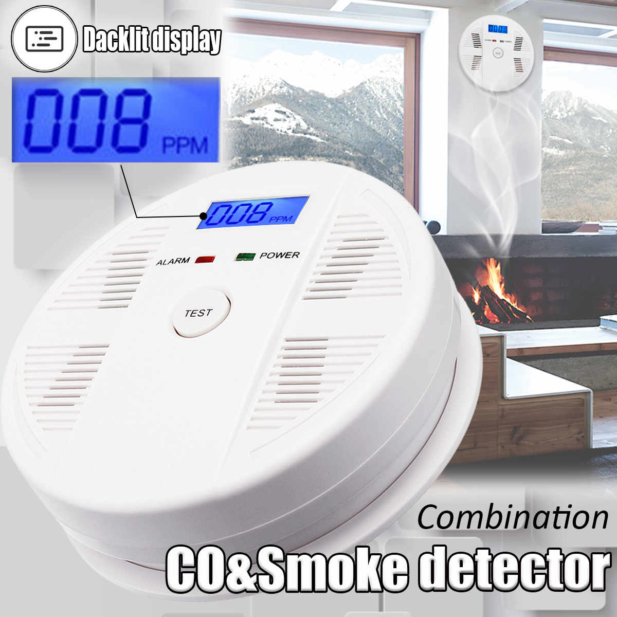2 IN 1 CO&Smoke Detector Alarm Sound Combo Sensor Battery Operated LED Light Suitable for House Shop Office Safety