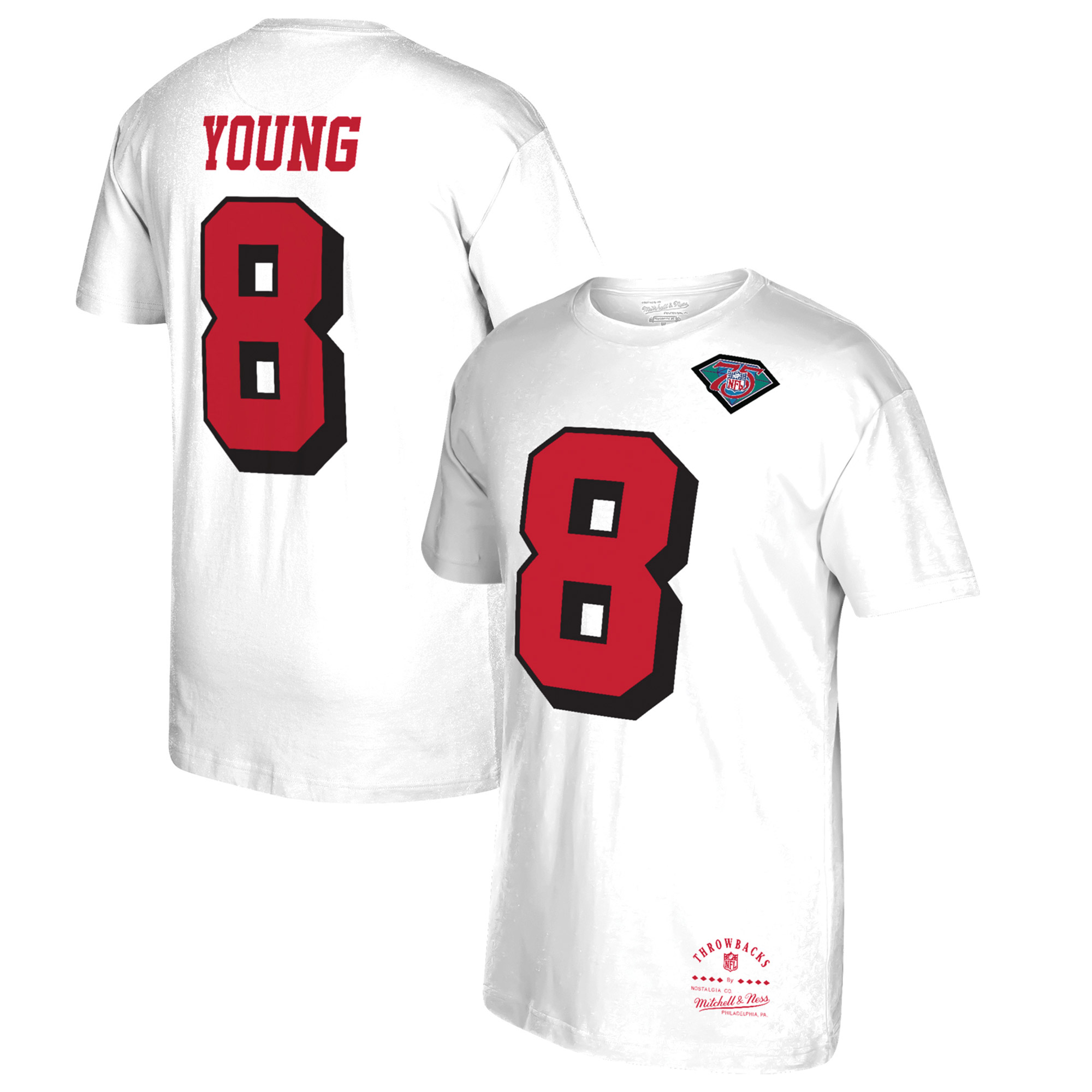 Steve Young San Francisco 49ers Mitchell & Ness Throwback Player Name & Number T-Shirt - White