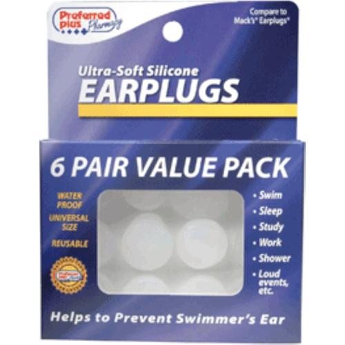 Ear Plugs, Ultra-Soft Silicone 6 pair (Pack of 6)
