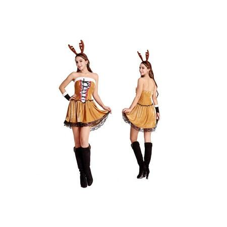 Wholesale Christmas Costumes (Women's Sexy Christmas Reindeer Rudolf Costume 4 Piece)