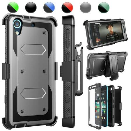 Bonus Carrying Case - HTC Desire 626 Case, Desire 626S Case, [Ash Grey] Njjex Shockproof Impact Case with Built in Kickstand + Bonus Belt Clip Carrying Armor Cases Cover For HTC Desire 626S/626