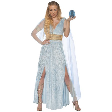 Adult Womens Dragon Queen Throne Games Dress W/Mesh Sleeves Halloween Costume (Ice Queen Halloween Costume Ideas)