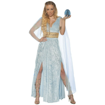 Adult Womens Dragon Queen Throne Games Dress W/Mesh Sleeves Halloween - Homecoming Queen Costume