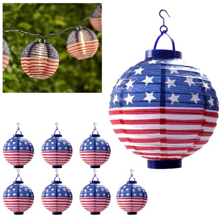 8 USA Flag Lanterns American Yard Lights LED Round 4th July Party Decoration - Usc Decorations